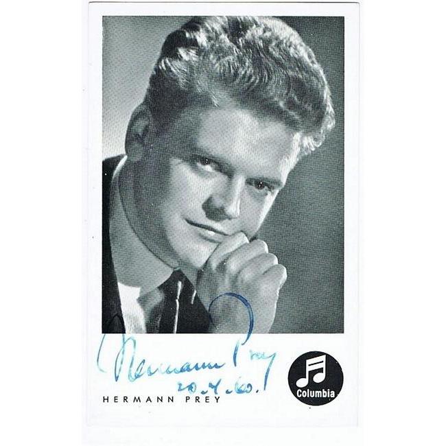 Hermann Prey Autograph on Columbia Card CoA