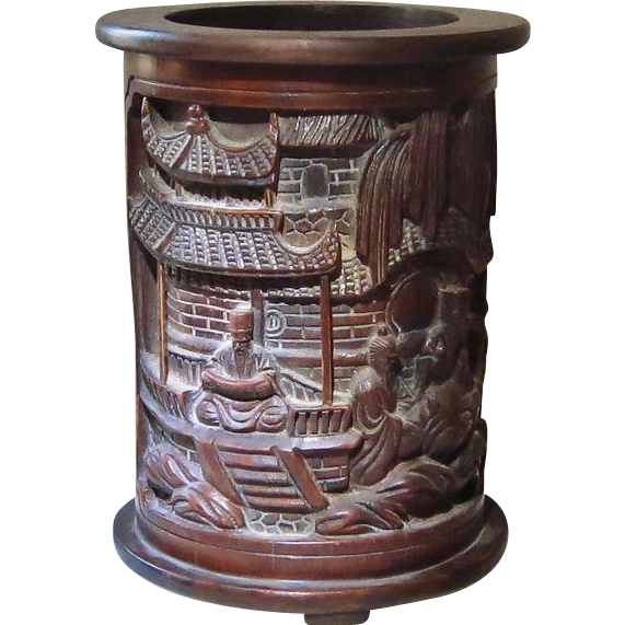 Old Chinese Brush Container with Scholars.