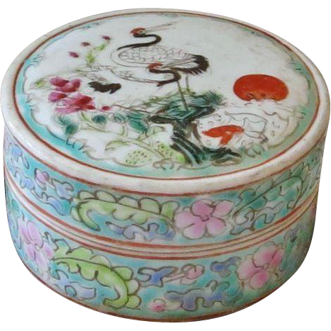 Antique Chinese Porcelain Box Famille Rose