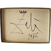 Salvatore Dali Artwork: Box Top with Crown and Signature 1972 CoA
