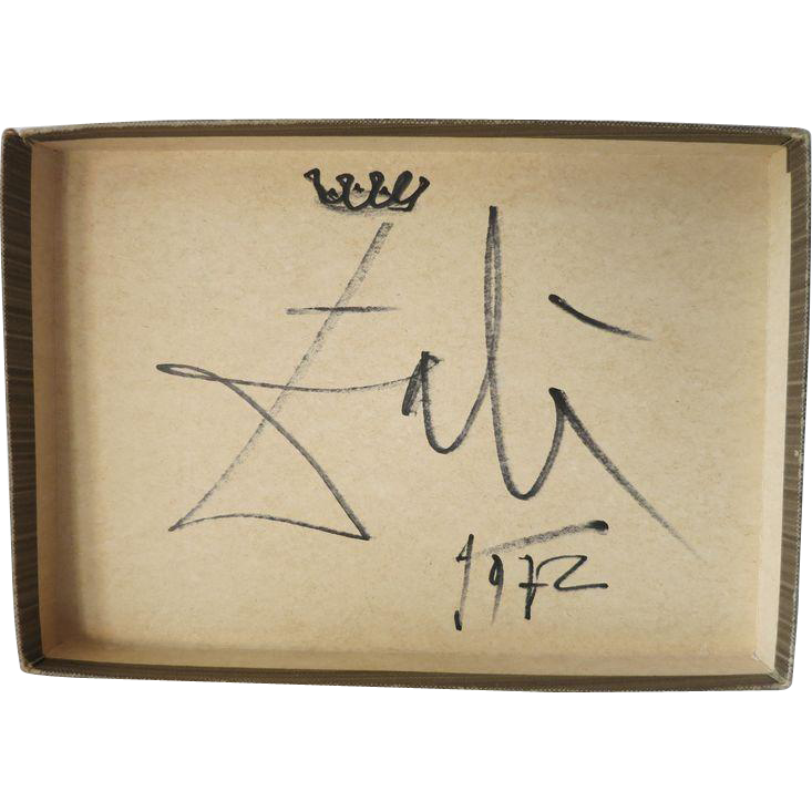 Salvatore Dali Artwork: Box Top with Crown and Signature ...