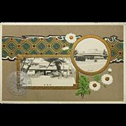 Decorative Japanese Postcard Litho Embossed