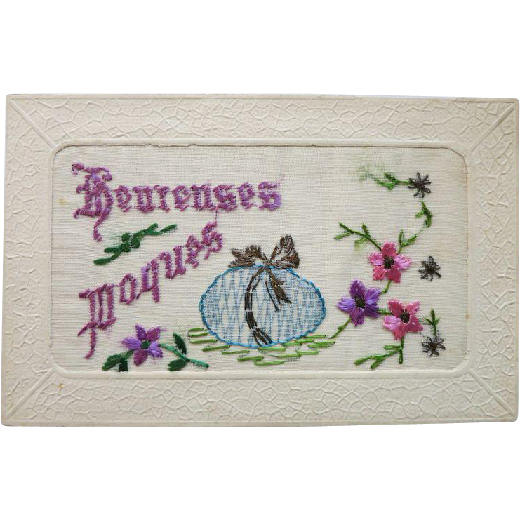 Unusual vintage Postcard with Stitchery Easter Motif