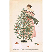 Xmas Postcard by Mela Koehler, decorative Art Nouveau