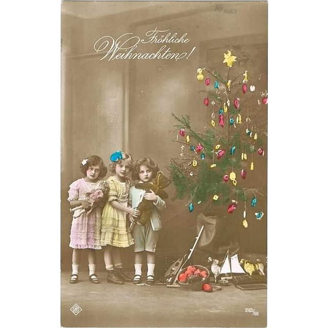 Old Christmas Postcard with Girls Teddy and Doll. Tinted Postcard 1913