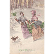 Ladies and Dachshund. Art Nouveau Xmas Postcard by Munk. 1913.