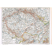 Imperial Austria Map with Bohemia, Moravia and Silesia 1900