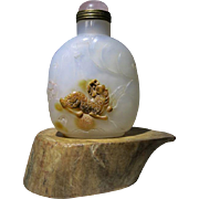 Chinese Snuff Bottle Agate Cameo with Qilin