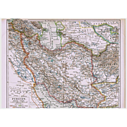 Persia Old Map from 1900 with surrounding Countries Iran, Iraq