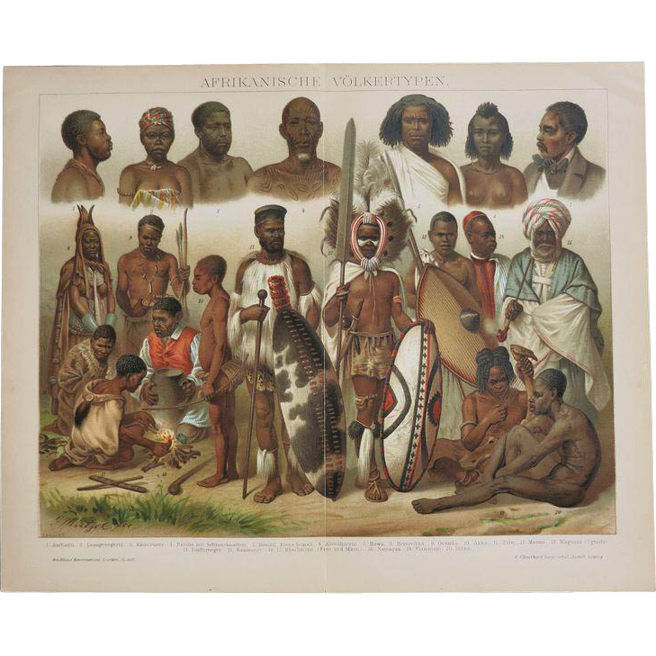 Antique Chromolithograph African Peoples. Very decorative. 19. Ct