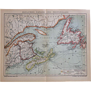 Eastern Canada and New Foundland. Antique Map from 1902.