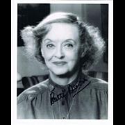 Bette Davis Autograph on 8 x 10 Photo CoA