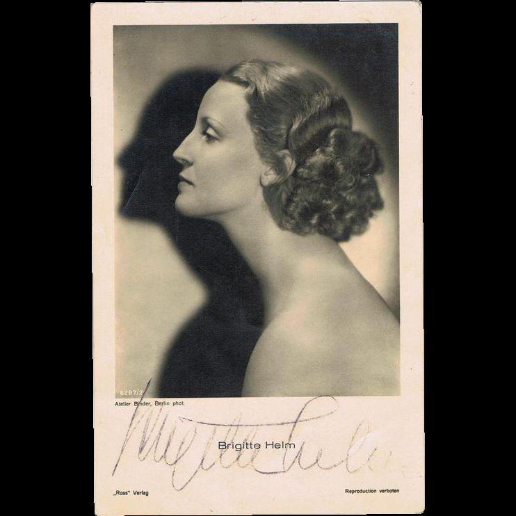 Brigitte Helm Autograph unforgettable Actress in Fritz Lang Film Metropolis