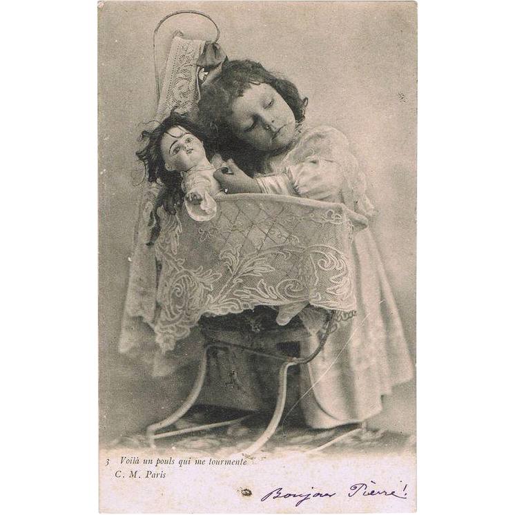 Girl with sick Doll. Cute Vintage postcard from 1903