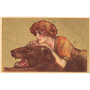 Italian Art Nouveau Postcard  Lady and Beast