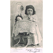 Girl and sick Doll. Cute Vintage postcard from 1903
