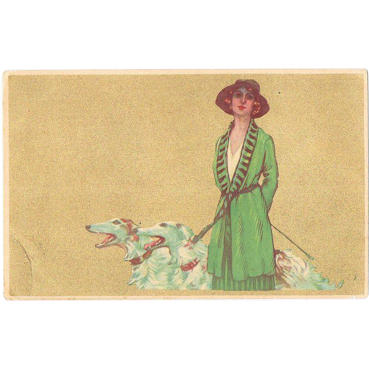 Italian Art Nouveau Postcard Lady  with Greyhounds
