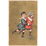 Italian Art Nouveau Postcard Kids Skating