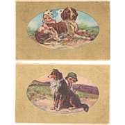 Two Italian Art Nouveau Postcard Kids and Dogs