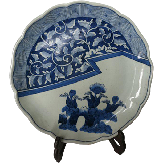 Scarce Antique Japanese Imari Plate Blue White