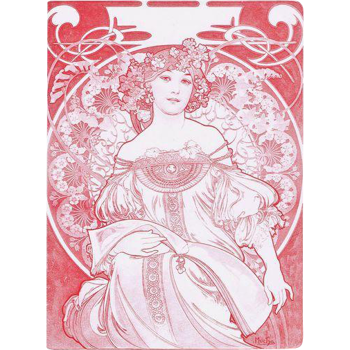 Old Art Nouveau Menu. Alphonse Mucha design.
