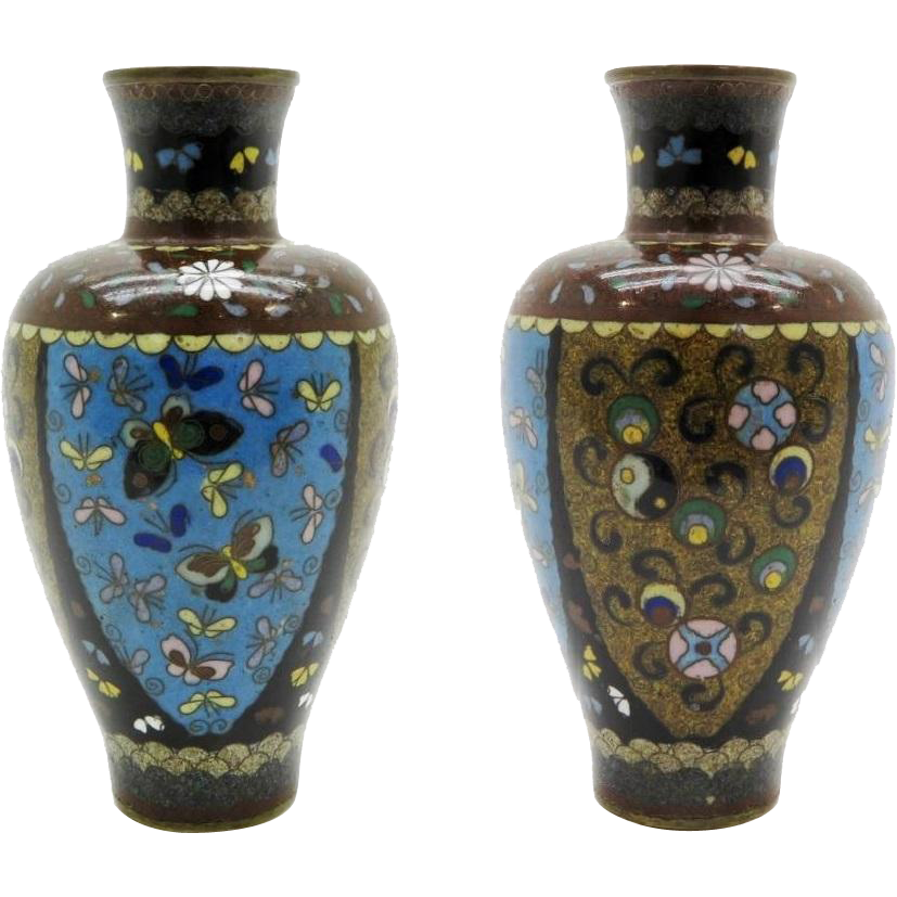 Antique Chinese Cloisonne Vase with Butterflies.