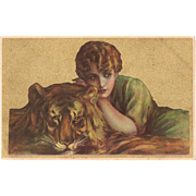 Italian Art Nouveau Postcard Lady with Tiger