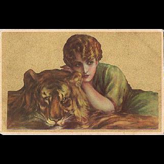 Italian Art Nouveau Postcard Lady with Tiger