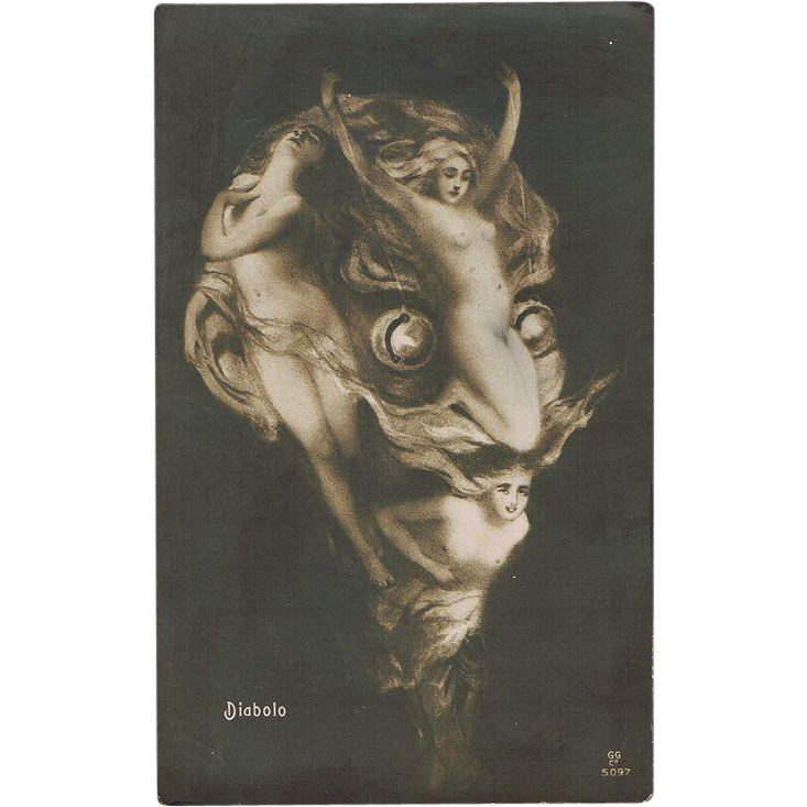 Head of Diabolo made of Nude Girls. Vintage Postcard