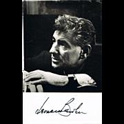 Leonard Bernstein Autograph on Photo CoA