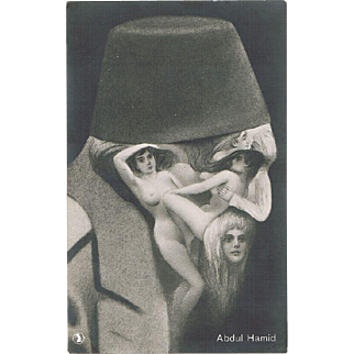 Abdul Hamid Portrait made of Nudes on Vintage Postcard