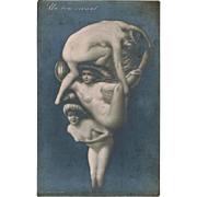 Metamorphic Postcard-Erotic Face with Nudes
