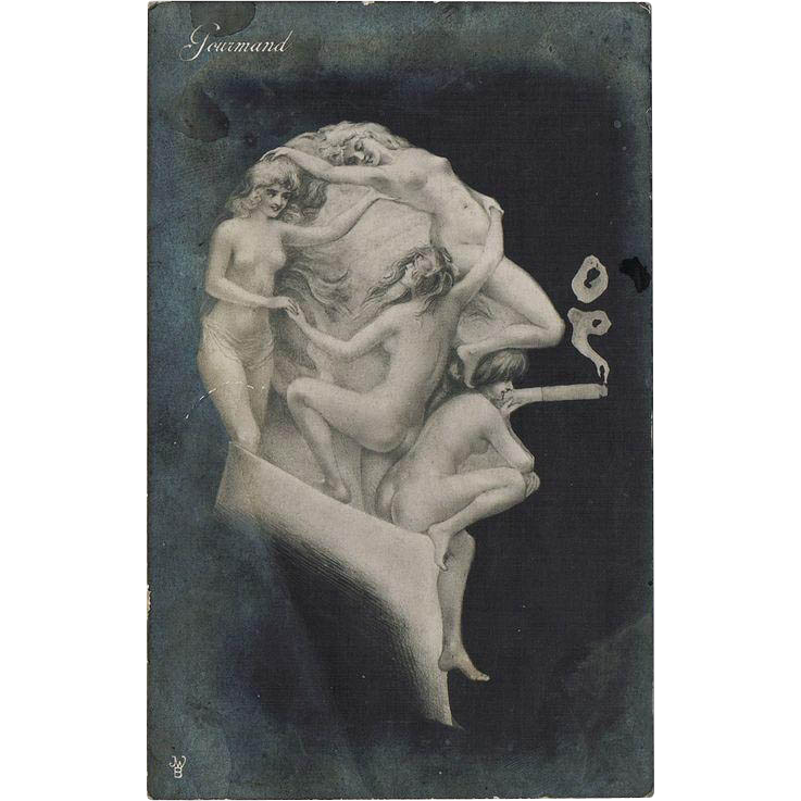 Metamorphic Vintage Postcard Smoker Nudes