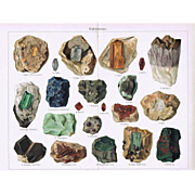 Gem Stones and Minerals Two Old Lithographs from 1902