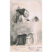 Girl with her Doll. Two Postcards from 1903