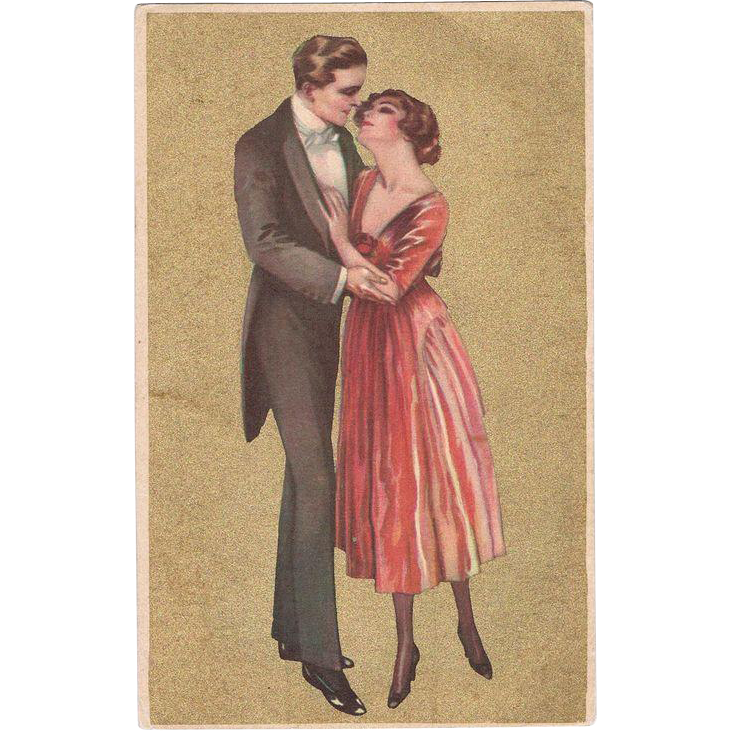Italian Art Nouveau Postcard with Couple