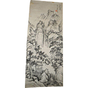 Old Chinese Scroll Painting Landscape