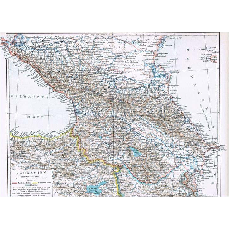 Caucasian Map Black Sea to Caspian Sea 1900 from curioshop on Ruby