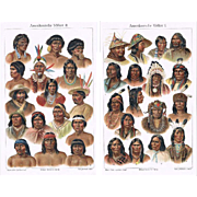 American Peoples Two antique Lithographs from 1900