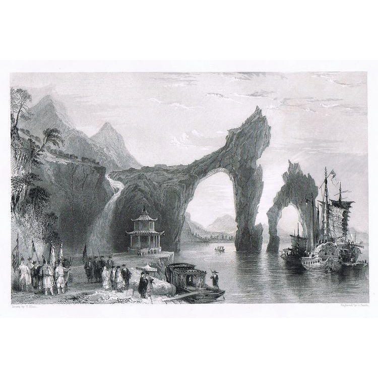 Antique etching with Chinese Scenery Tung Ting Shan by Thomas Allom