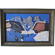 Austrian Painting Winter in the Mountains