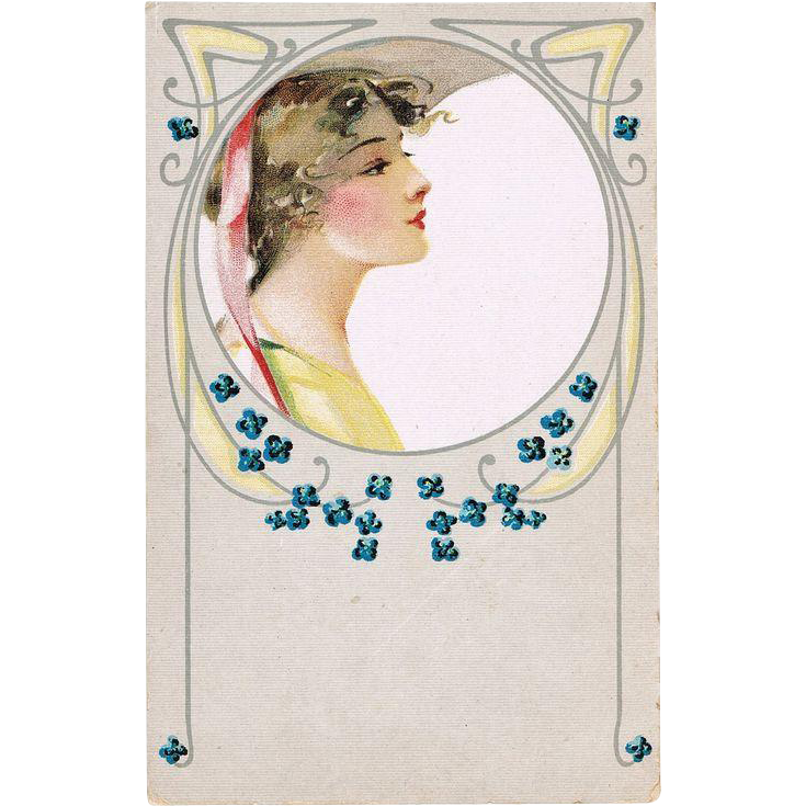 Art Nouveau Postcard with Pretty Lady