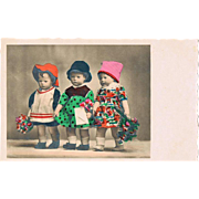 Cute Tinted Postcard with Dolls