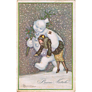 Art Deco Postcard Snowman and Lady New Year Adolfo Busi