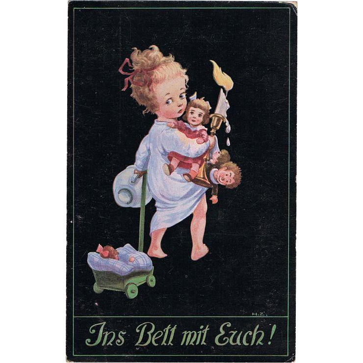 Girl with her Dolls Cute Vintage Postcard