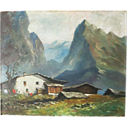 Farm House in South Tyrol, old Oil Painting