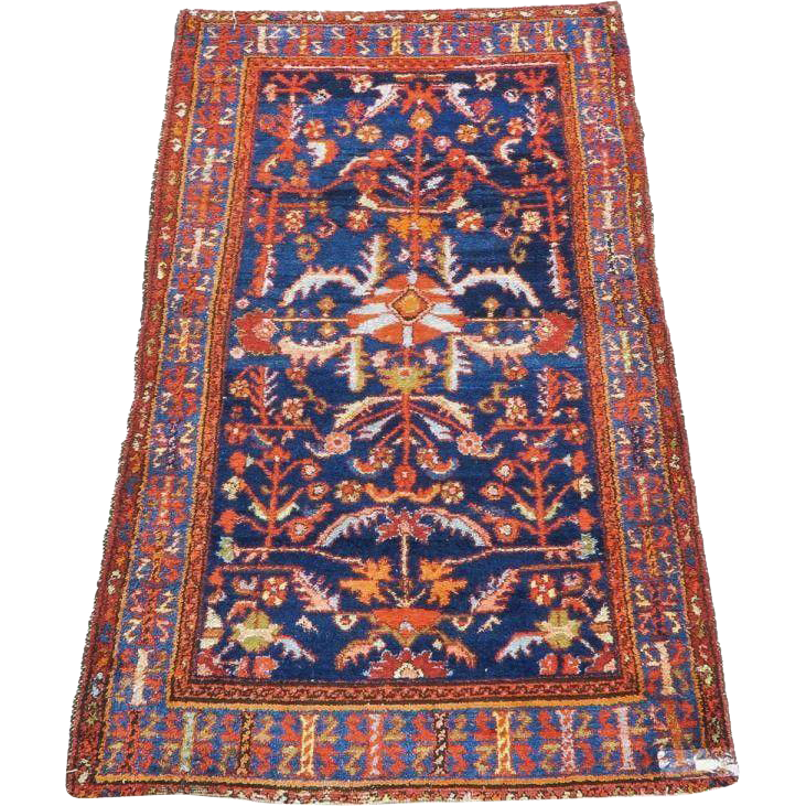 Semi Antique Persian Hand Knotted Hamadan Wood Carpet