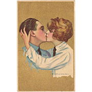 Kissing Couple Art Deco Postcard by Giovanni Nanni