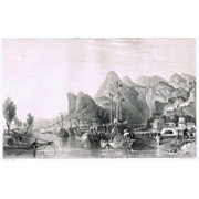 Antique Etching Chinese Scenery by Thomas Allom