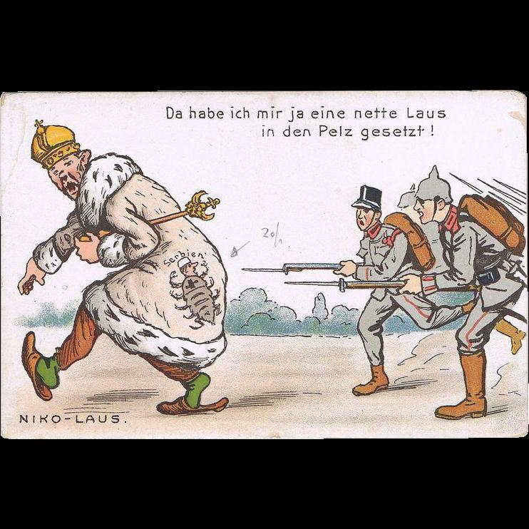 Tsar Nicholas II Vintage Postcard Caricature